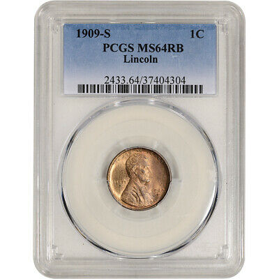1909-S US Lincoln Wheat Cent 1C - PCGS MS64 RB