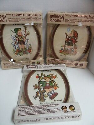 3 Gallery Crafts Bordado Crewel Hummel Stitchery Granja Campesino Boy Apple