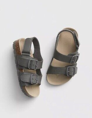 Gap Baby Boy Toddler Faux Leather Cork Sandals Shoes Grey / Gray Size 5 / 6 NWT
