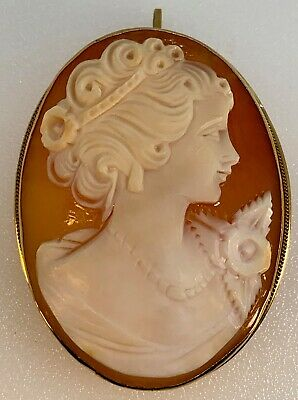 Large Mid-20th Century Shell Cameo Pendant & Pin w 14K Yellow Gold Frame, 8.3g