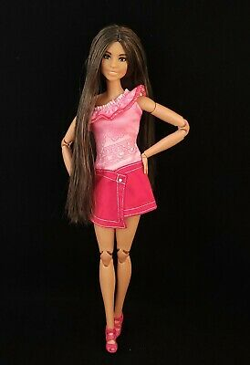 Made to Move Hybrid Barbie with Fashionistas 103 Head Long Brown Hair OOAK
