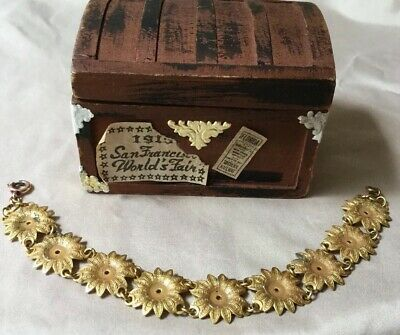 Vtg  Antique Art Nouveau Gold Gilt  Brass Victorian Flower Panel Link Bracelet