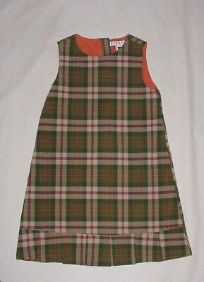 EUC Baby GAP Girls Green Orange Pink & Beige Plaid Pleated Jumper Dress Size 4T