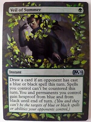 Veil of Summer Core Set 2020 MTG Magic Hand Painted Extended Altered Art