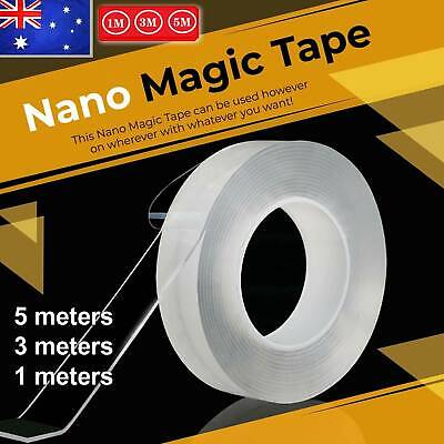 Multi-Function Nano Magic Tape Transparent Reusable Traceless Fixed Double AU W