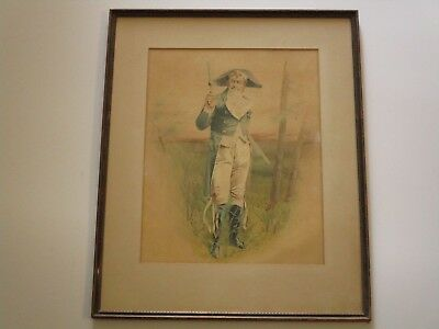 Antique 19Th Century Portrait Painting Napoleonic French Military Holding Gun