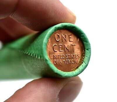 RARE Lincoln Wheat Cent Roll! Brilliant Uncirculated BU Penny on end MIXED DATES