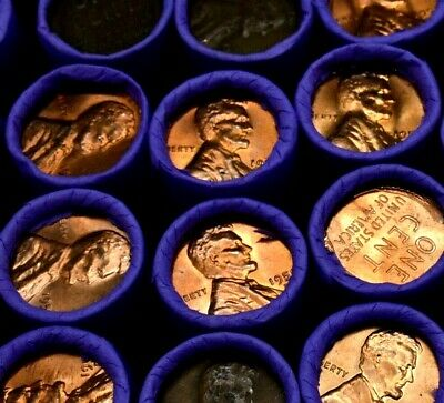SHINY PENNIES Brilliant Uncirculated Wheat Penny on Lincoln Circulated Cent Roll