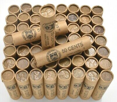 Old Lincoln Wheat Penny Roll Antique Coins Us Vintage Cents Mixed Lot Mint P D S
