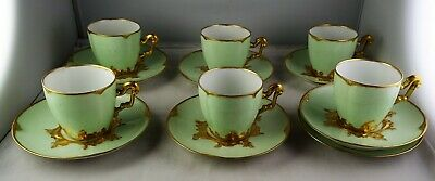 6 T & V Limoges Antique Porcelain Green & Gold Demitasse Cup & Saucer Sets