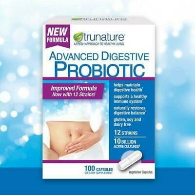 Trunature Advanced Digestive Probiotic, 100 Capsules NEW Open BOX- 98 remaining