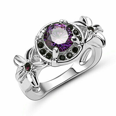 Unique18k white Gold Filled Purple Amethyst Crystal Women Stunning Halo Ring Sz8