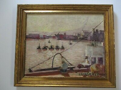 Antique American Wpa Era Painting Urban Cityscape Coastal New York ? Marina Old