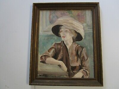 Antique Art Deco Era Painting Oil Woman Female Model Portrait Pretty 1920'S Art