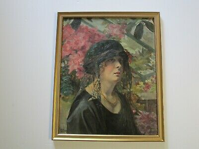 Antique Art Deco Flapper Era Painting Portrait Pretty Woman Female Model W Hat