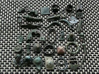 Lot Of 34 Ancient Roman And Byzantine Medieval Bronze Artifacts And Fragments