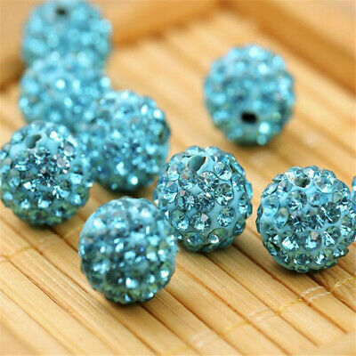 10mm Rhinestone Crystal Round Disco Ball Shamballa Beads 100pcs  Multi Beading