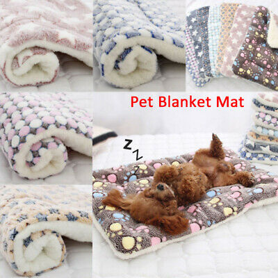 Dog Cat Puppy Pet Paw Print Plush Mat Soft Warm Sleeping Bed Blanket Cushion-WI