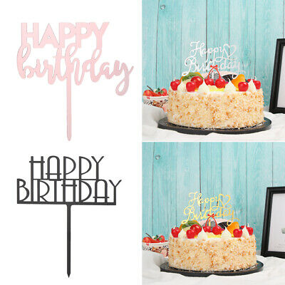 Party Supplies Gold Silver Cake Topper Happy Birthday Acrylic Dessert Stand