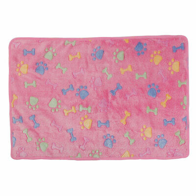 Pet Flannel Bone Print Doggy Bed Cushion Soft Warm Sleeping Mat Dog Blanket Pink