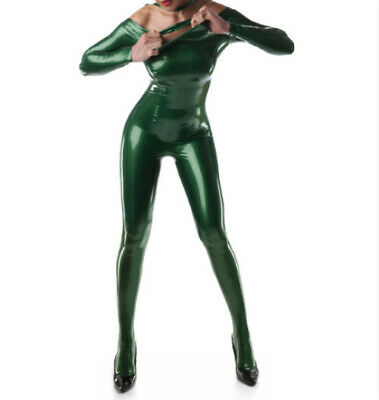 Latex Catsuit Gummi Zentai Sportuniform Metal green  Ganzanzug Anzug Suit S-XXL