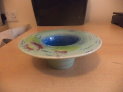 OLD VINTAGE art deco burleigh ware turquoise water lily vase posy holder bowl
