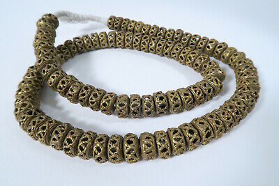 Strang Messingperlen Spacer Gelbguß 13mm AZ69 Ghana Brass Beads Ashanti Afrozip