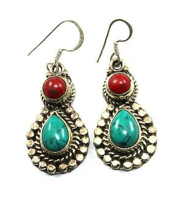 Awesome Tibetan Turquoise And Coral 925 Silver Plated Nepali Earring 2 Inch Long