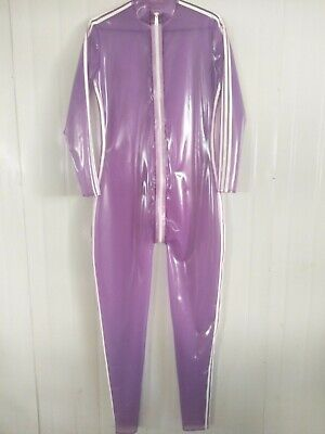 Latex Catsuit Gummi Zentai Herren Ganzanzug Anzug Purple with White Suit S-XXL