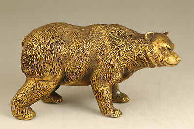 chinese old copper hand casting bear statue snuff bottle