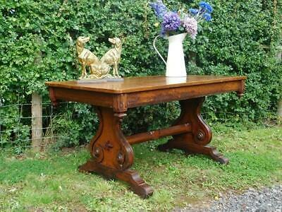 A Good Antique  Country Pine & Mahogany Gothic Side Hall Library Table