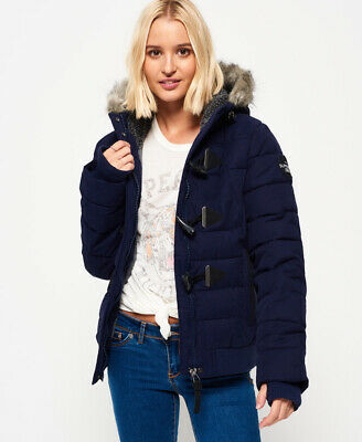 New Womens Superdry Microfibre Toggle Puffle Jacket Navy