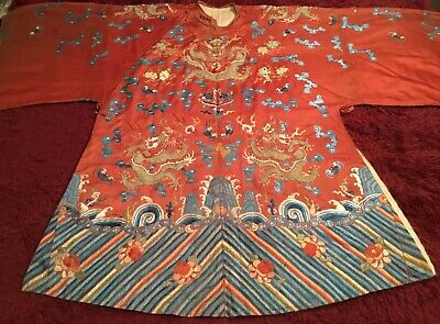 ANTIQUE CHINESE 19th c QI'ING SILK EMBROIDERED DRAGON ROBE JACKET EMBROIDERY