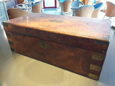 ANTIQUE campaign WALNUT wood VICTORIAN writing slope WOODEN BOX brass corners