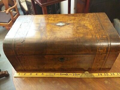 Fine Antique Tunbridge Ware Inlaid Walnut , Mahogany interior WRITING SLOPE Box