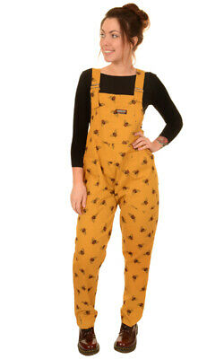 Run And Fly Stretch Twill Yellow Gold Bee Unisex Baggy Dungarees Overalls