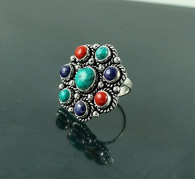 Handmade Turquoise, Lapis & Coral 925 Silver Plated Gemstone Ring Jewelry GS-2