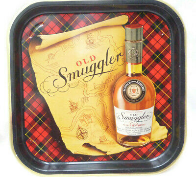 VINTAGE OLD SMUGGLER WHISKY TIN TRAY 1970s - very good condition