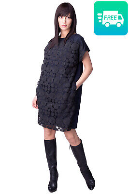 RRP €155 8 Cocoon Dress Size 40 / S Spotted Lace Trim Cap Sleeve Made in Italy