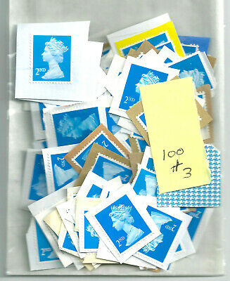 100 GB UNFRANKED  2nd CLASS STAMPS ON PAPER FV £61