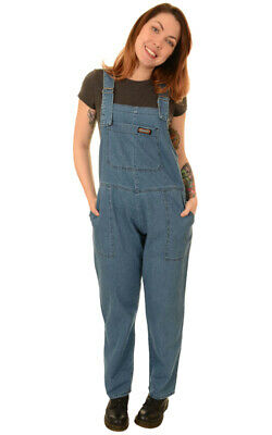 Run And Fly Blue Stonewash Denim Unisex Baggy Dungarees Overalls