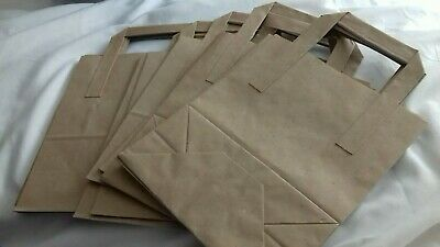 Paper Carrier Bags White Brown SOS Kraft Takeaway Party Lunch Food Flat Handles.