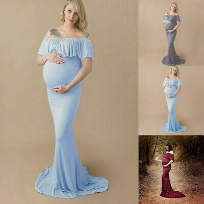 Women Pregnant Off Shoulder Photography Props Maternity Nursing Solid Long Dress