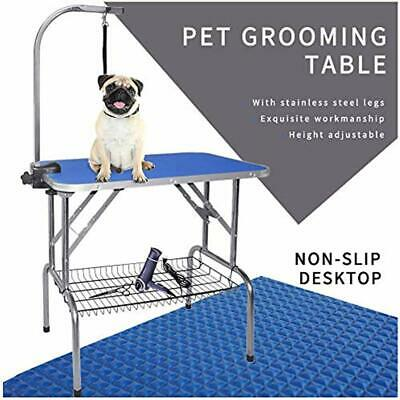 Pet Dog Grooming Table Foldable Heavy Duty Stainless Steel Frame Arm &amp Noose