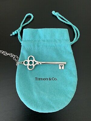 TIFFANY & CO. Sterling Silver Crown Key Link Chain Classic Necklace 37 inch