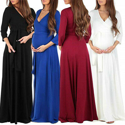 Pregnant Women Belt Maxi Wrap Dress Maternity Photography Props Gown Long Dress