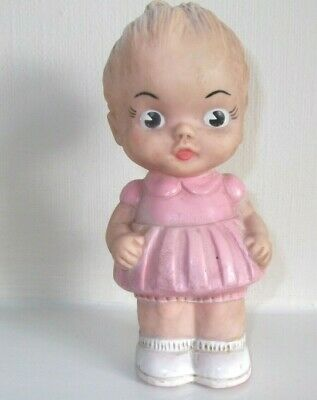 VINTAGE RUBBER DOLL by ROSEBUD; SQUEAKS WHEN SQUEEZED. 1930/40s SHABBY CHIC!