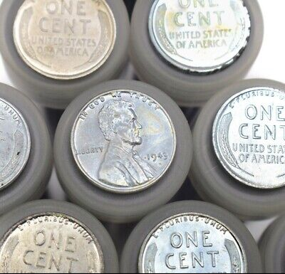 Entire Tube of WWII WARTIME STEEL CENTS! Vintage Estate US Coin Sale Penny Lot