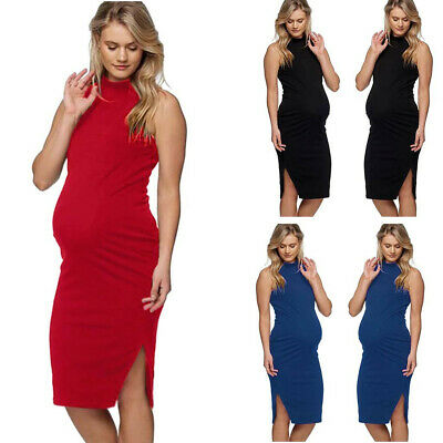 Women Pregnant Sleeveless Solid Casual Vest Dress Maternity Summer Mini Sundress