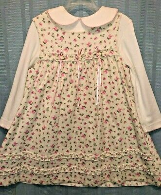 Rare Too! Sweet Fine Baby Wale Corduroy Jumper W/tiny Vtg Rose Print Size 5 Nwot